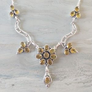 Flower design citrine stamped 925 necklace
